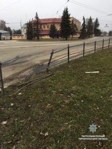 У Тернополі водій автомобіля врізався у паркан, після чого напився вина (фото)