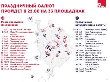 Праздничный салют на 9 мая в Москве запустят с 33 площадок