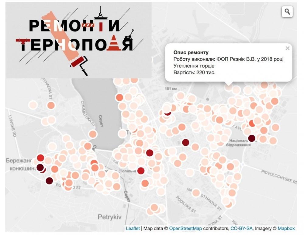 Відкритість влади: Усі ремонти Тернополя тепер на інтерактивній карті