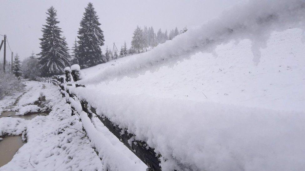 У Карпатах мороз і засипає снігом (ВІДЕО)
