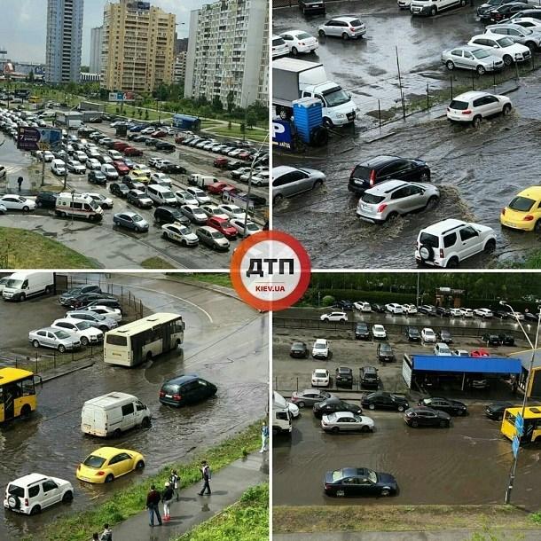 Київ затопило під час грози (ФОТО, ВІДЕО)