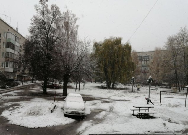 В Україні випав перший рясний сніг: діти ліплять сніговиків (ФОТО)