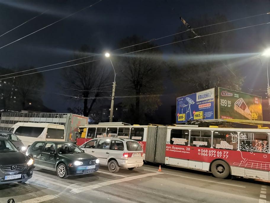 У Тернополі тролейбус із людьми в'їхав у вантажівку із свиньми (ФОТО)