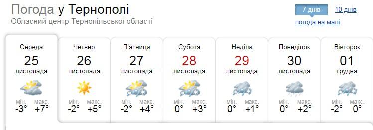 Коли на Тернопільщині випаде перший сніг?