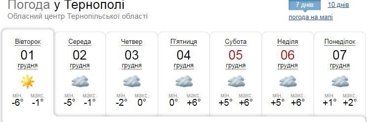 Погода на Тернопільщині: у перші дні зими очікують сніг