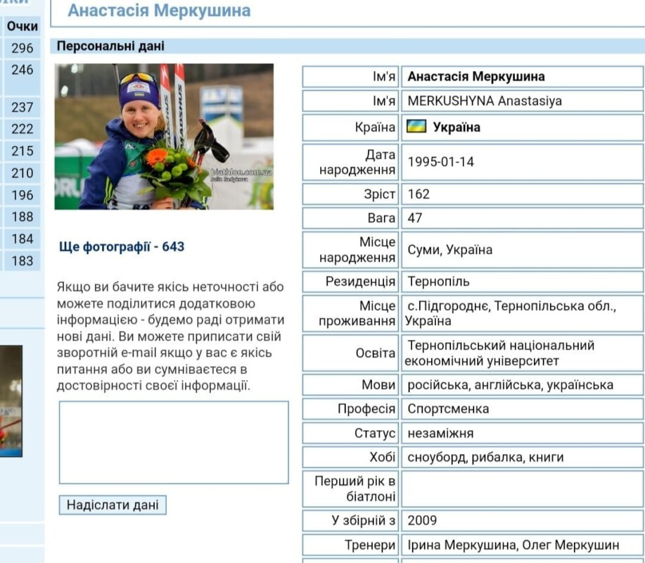 Біатлоністка Анастасія Меркушина вже не представляє Тернопілля