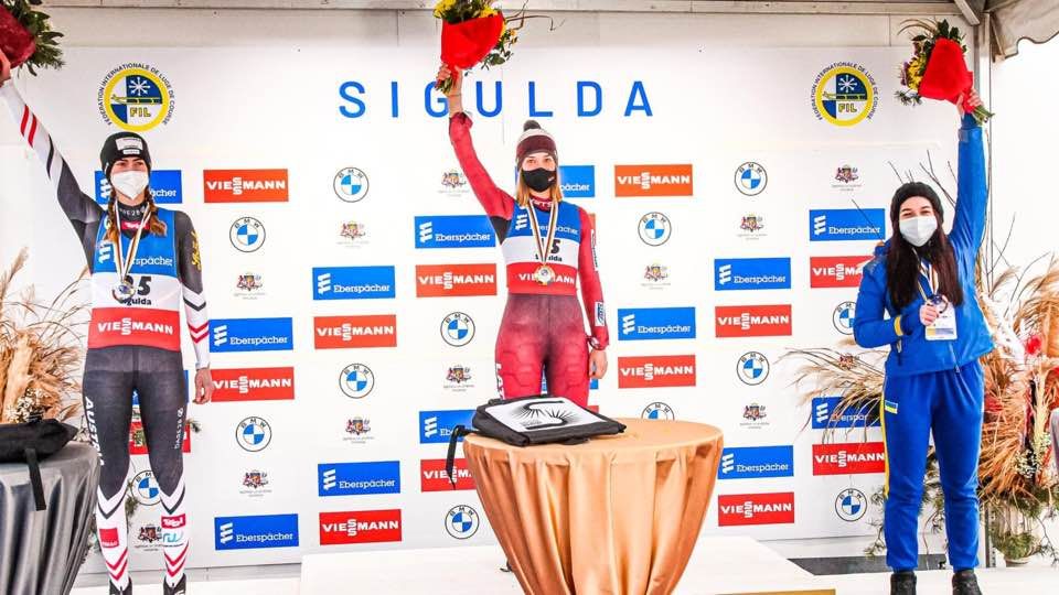 Кременчанка Юлія Туницька здобула бронзову нагроду на молодіжному чемпіонаті Європи з санного спорту (фото)