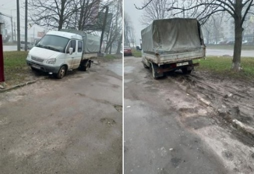 У Тернополі водій автомобілем знищив частину трави (ФОТОФАКТ)