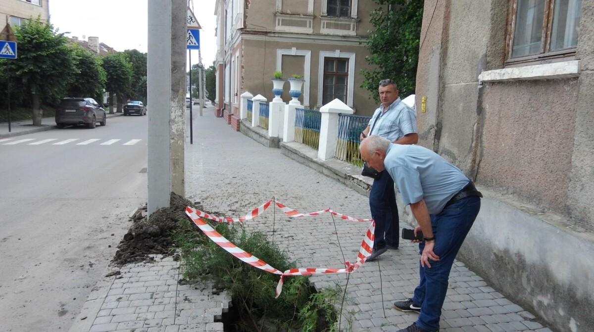 """У Бережанах """"озеленили"""" провалля на тротуарі"""