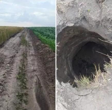 На Чортківщині посеред поля на дорозі утворилося загадкове провалля (ФОТО)