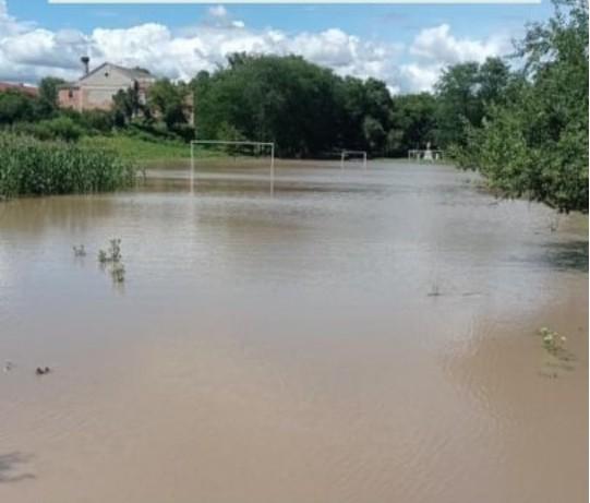 У селі на Тернопільщині футбольне поле перетворилося у ставок (ФОТО)